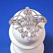 SALE Edwardian 2.24 Diamond Platinum Vintage Pendant/Brooch