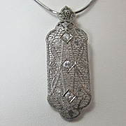 SALE Exquisite Diamond Filigree Edwardian Pendant 14K