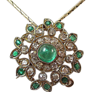 SALE Sophisticated Royal Emerald Diamond Vintage Pendant-Pin 18K