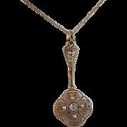 SALE Delightful Old Mine Cut Diamond & Seed Pearl 14K Gold Vintage Pendant