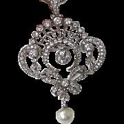 SALE Dazzling Edwardian Diamond, Pearl, Platinum Antique Pendant/Brooch 18K