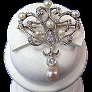 SALE Glamorous Cultured Pearl & Diamond Vintage Necklace/Brooch Platinum/18K