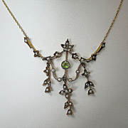 SALE Peridot &  Seed Pearl  Art Nouveau Necklace 14K