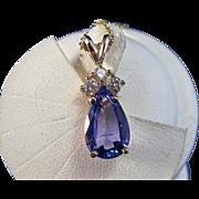 SALE Gorgeous 2.32 Tanzanite & Diamond Vintage Pendant 14K