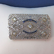 SALE Outstanding Diamond, Sapphire, Platinum Art Deco Brooch