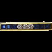 SALE Amazing Tiffany Diamond & Sapphire Vintage Bar Pin 18K