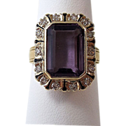 SALE Fabulous Natural Amethyst & Diamond Art Deco Vintage Dinner Ring 14K