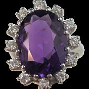 SALE Royal Amethyst & Diamond Vintage Engagement Halo Ring 14K