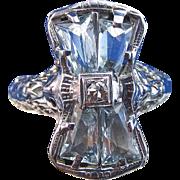 SALE Lovely Art Deco Aquamarine Vintage Engagement Ring