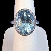 SALE Exquisite Natural Aquamarine & Diamond Vintage Ring, 14K
