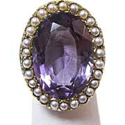 SALE Spectacular Downton Abbey 9.97 Amethyst Cultured Pearl Antique Victorian Ring
