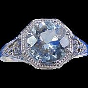 SALE Astonishing Edwardian Aquamarine Downton Abbey Engagement Vintage Ring 14K