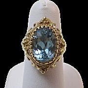 SALE Extraordinary Natural Blue Topaz Dinner/Engagement Vintage Ring 14K