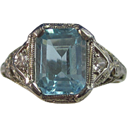 SALE Charming Blue Topaz & Diamond Art Deco Vintage Ring 14K