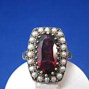 SALE Vivid 3.50 Garnet & Seed Pearls Vintage Estate Ring 14K