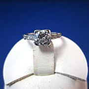 SALE Dazzling Diamond Art Deco Engagement Ring Platinum