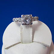 SALE Brilliant Diamond Vintage Engagement Ring 14K