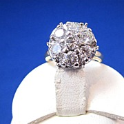 SALE Dynamite Diamond Cluster Vintage Cocktail/Engagement Ring 14K