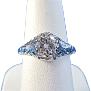 SALE Fiery Diamond Vintage Estate Engagement Ring 18K