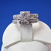SALE Sparkling Diamond Art Deco Wedding Set Rings 14K
