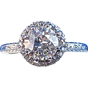 SALE Breathtaking Tacori Diamond Art Deco Halo Engagement Ring 18K