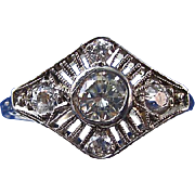 SALE Dazzling VS1 Diamond Platinum Art Deco Vintage Ring Platinum