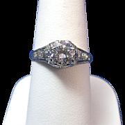 SALE Fabulous Diamond Edwardian Vintage Ring Platinum