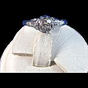 SALE Gorgeous Diamond Filigree Edwardian Vintage Engagement Ring Platinum