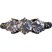 SALE Lovely Edwardian 3 Stone Diamond Antique Ring 14K