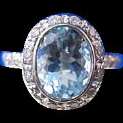 SALE Brilliant Aquamarine & Diamond Bailey, Banks & Biddle Halo Engagement Ring 14K