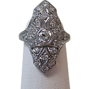 SALE Stunning Old European Antique Edwardian Diamond Ring Platinum