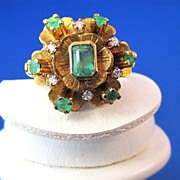 SALE Outstanding .55 Emerald & Diamond Edwardian Antique Ring 18K