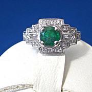 SALE Gorgeous Natural Emerald & Baguette Diamond Vintage Ring Platinum