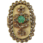 SALE Dynamite Emerald Diamond Antique Victorian Ring 18K