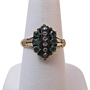 SALE Adorable Antique Victorian Emerald & Diamond Ring 14K