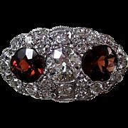 SALE Romantic .63 Diamond & Almandine Garnet 14K Art Deco Ring