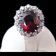 SALE Rich Rhodolite Garnet & Diamond Vintage Engagement Halo Ring 14K