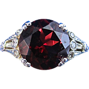 SALE Fascinating Pyrope Garnet & Diamond Engagement Ring 14K