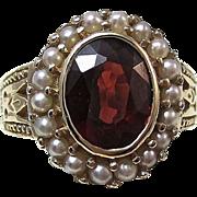 SALE Glorious 2.36 Garnet & Seed Pearl Vintage Estate Ring 14K