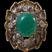SALE Natural Jadeite & Diamond Engagement/Dinner Ring, 14K