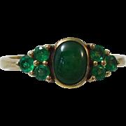 SALE Darling Natural Emeralds & Jadeite Edwardian Antique Ring 18K