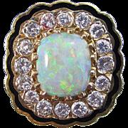 SALE Fab Fifties Opal & Diamond Enamel Dinner Ring 14K