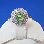 SALE Romantic Peridot Diamond Edwardian Halo Vintage Ring Platinum/18K