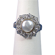 SALE Exquisite Cultured Pearl & 1.24 Diamond Vintage Halo Ring