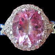 SALE Passionate 6.32 Pink Topaz & Diamond Vintage Halo Ring 14K