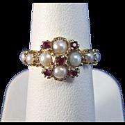 SALE Enchanting Ruby & Cultured Pearl Art Deco Vintage Ring 14K