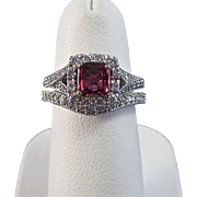 SALE Romantic .58 Ruby & Diamond Vintage Wedding Set 14K