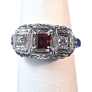SALE Romantic .36 Natural Ruby & Diamond Vintage Ring 18K