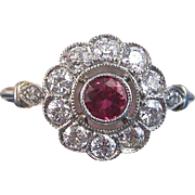 SALE Romantic Ruby Diamond Art Deco Halo Engagement Ring Platinum