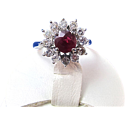 SALE Romantic Ruby & Diamond Vintage Halo Ring 14K